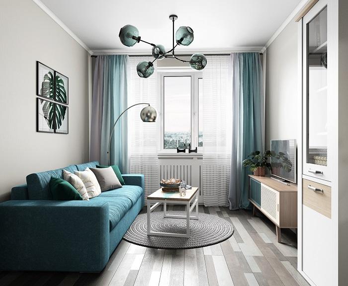 В этом интерьере белый является основным цветом, серый - дополнительным, голубой - акцентным. / Фото: severdv.ru