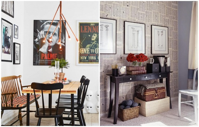 Газетный декор, как и ретро-постеры, являются изюминкой обстановки