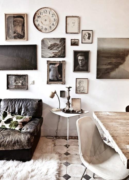 Вешать картины и фото лучше не по центру, а в нестандартном порядке. / Фото: interiorizm.com