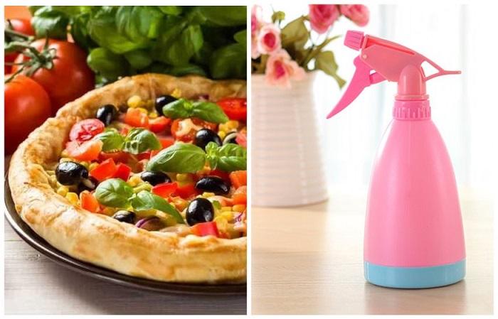 Края пиццы нужно обрызгать пульверизатором, чтобы они стали мягче
