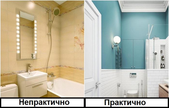 Красивее смотрится сочетание плитки и краски в ванной