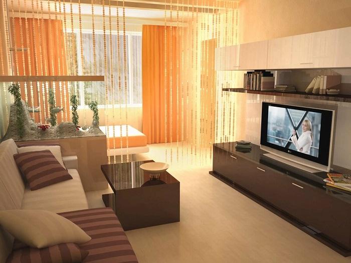 Комнаты можно зонировать при помощи гипсокартонной перегородки. / Фото: postila.ru
