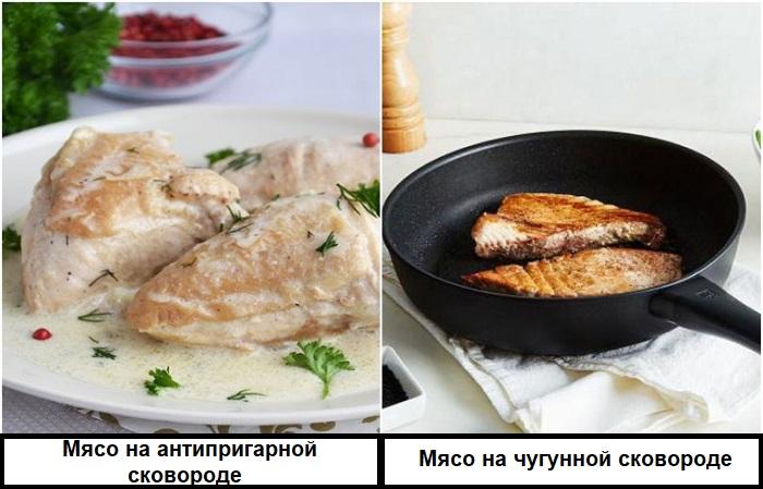 На антипригарной сковороде не получится мясо с корочкой