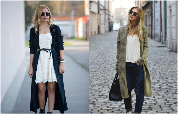 Кардиганы сочетаются как с платьями, так и с джинсами