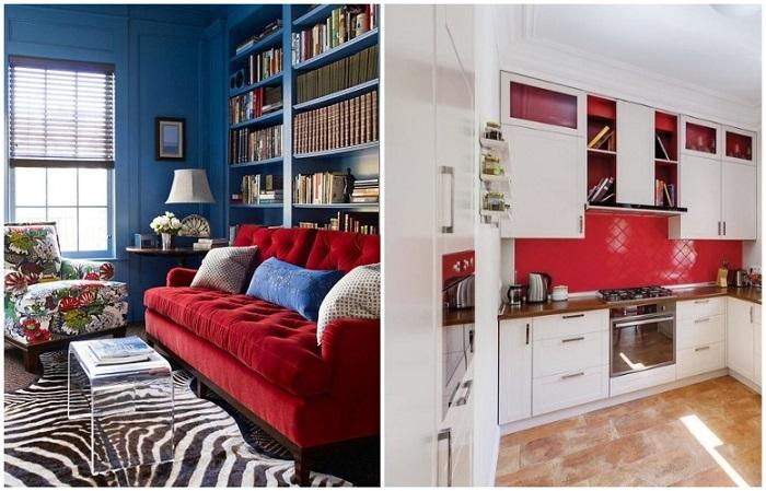 Красный отлично сочетается с белым и синим