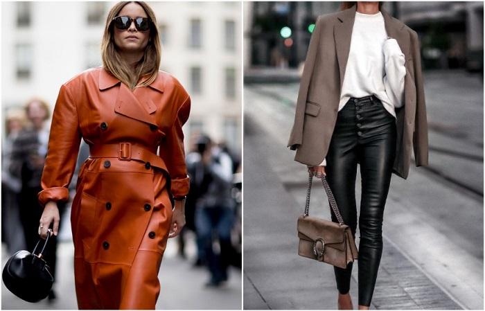 В моде кожаные штаны и плащи