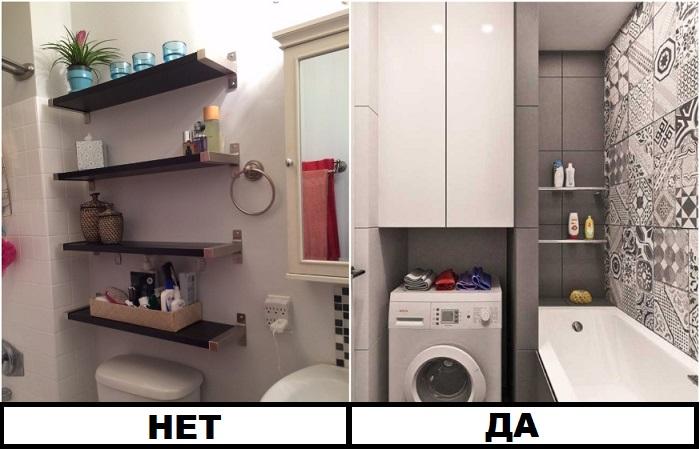 В ванной должны присутствовать и открытые, и закрытые системы хранения