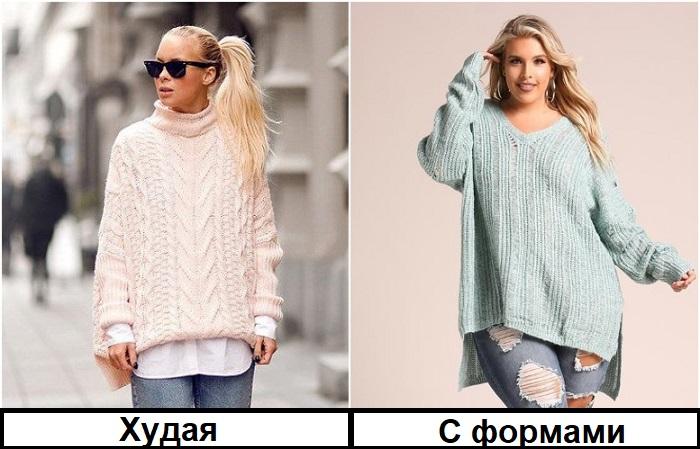 Однотонный свитер оверсайз подходит девушкам любой комплекции