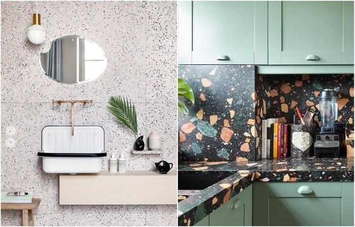 Терраццо часто используют для оформления стен в ванной и фартука на кухне