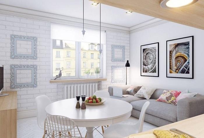 Кухня-гостиная в скандинавском стиле. / Фото: Rhome.by