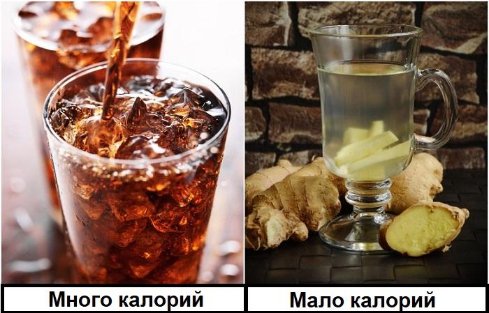 Кола содержит много калорий, в отличие от имбирного чая