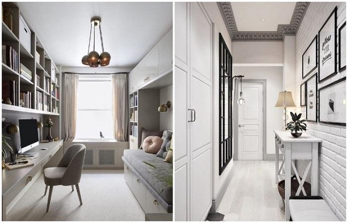Для узких комнат лучше выбирать светлую отделку