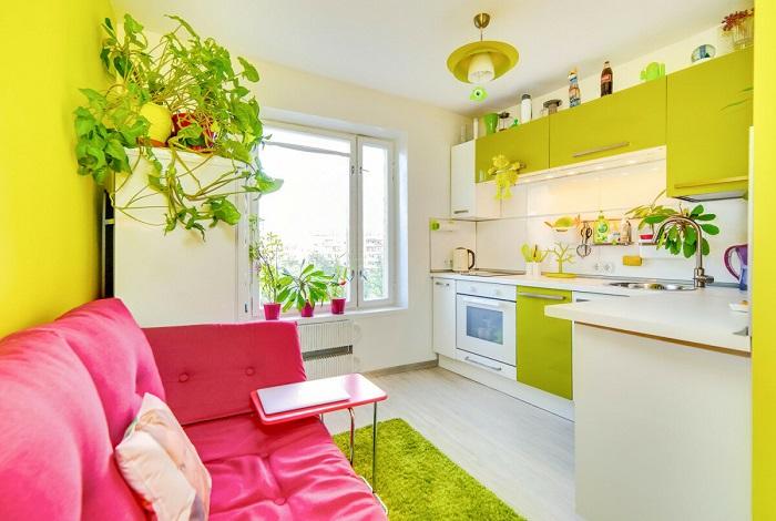 Салатовый и розовый цвета плохо сочетаются в одном помещении. / Фото: Pinterest.ru