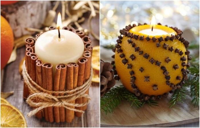 Украсьте свечу корицей или сделайте подсвечник из апельсина