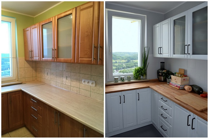 Кухню можно изменить, покрасив гарнитур. / Фото: berkem.ru