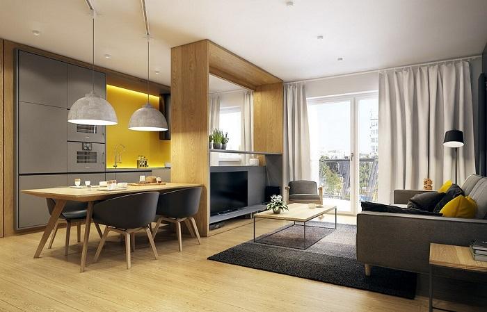 Элегантная кухня-гостиная в современном стиле. / Фото: Pinterest.com