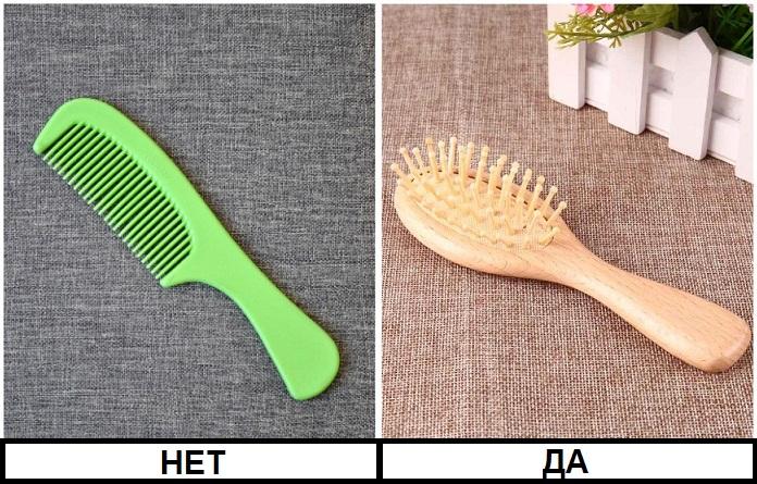 От пластиковой щетки волосы будут электризоваться, а от деревянной - нет