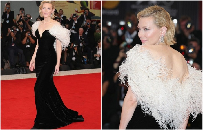 Кейт Бланшет в бархатном платье с накидкой из перьев от Armani Privé