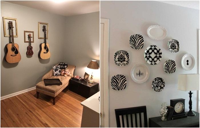 Стены можно украсить музыкальными инструментами или красивой посудой