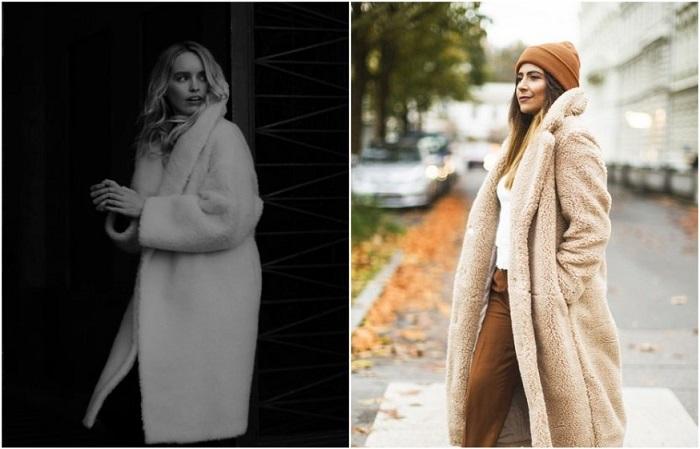 В моду вошли плюшевые пальто из искусственного меха