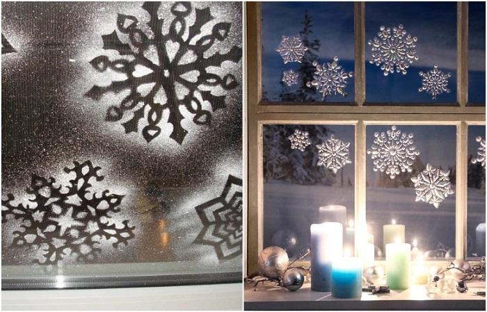 Снежинки можно нарисовать или сделать через трафарет зубной пастой