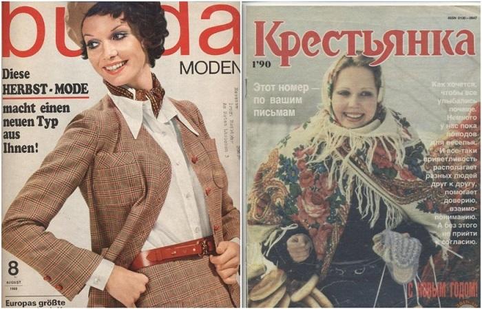 Популярные модные журналы «Крестьянка» и «Burda»