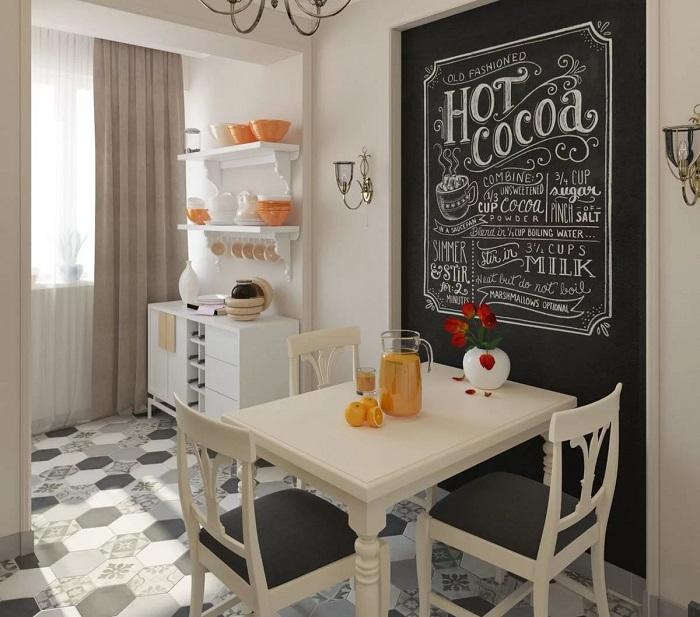Грифельная доска - достойное украшение любой кухни. / Фото: interiorizm.com