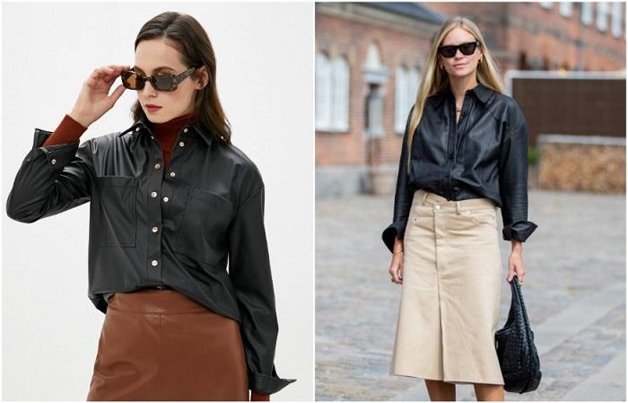 Сочетание юбки и кожаной рубашки - беспроигрышный вариант для тех, кто хочет добавить в образ дерзости