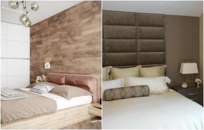 Модные варианты - деревянные и мягкие панели