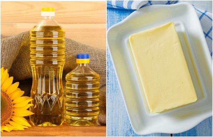 Сливочное масло нужно хранить в морозилке, а подсолнечное - в темном месте