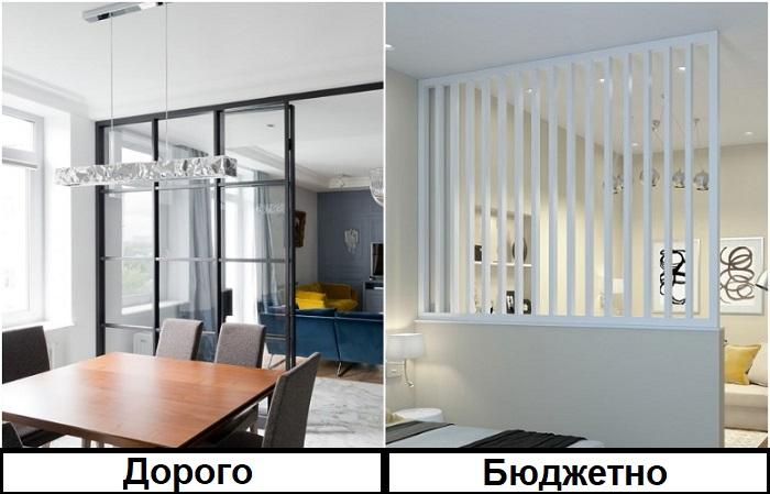 В отличие от перегородки из стекла, вариант из вспененного ПВХ дешевле