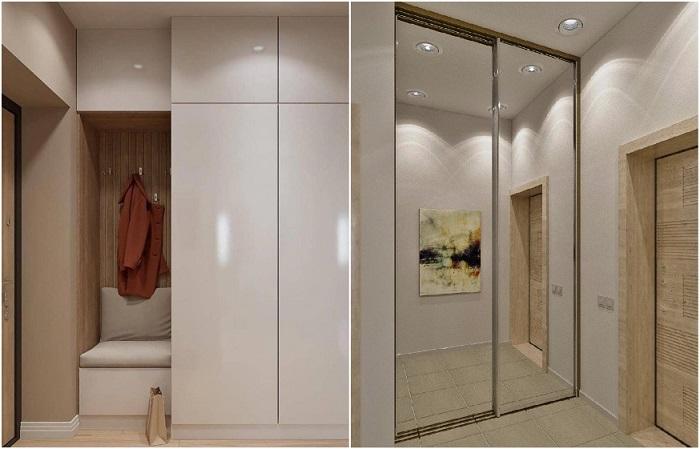Лучше выбирать шкафы высотой до потолка, чтобы сэкономить место