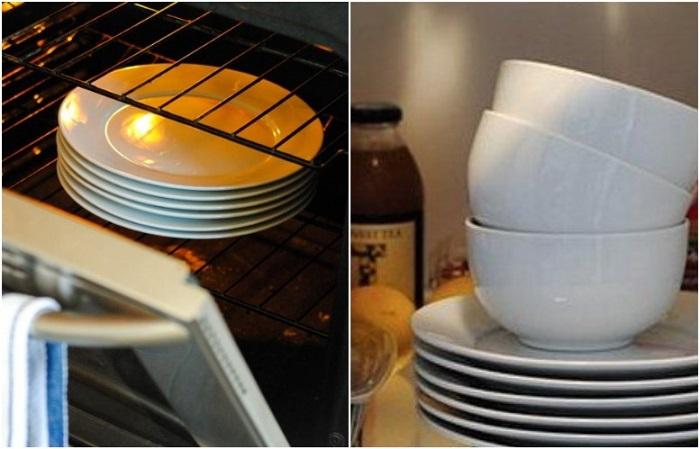 Посуду нужно нагреть в духовке для горячих блюд, и остудить в холодильнике - для холодных