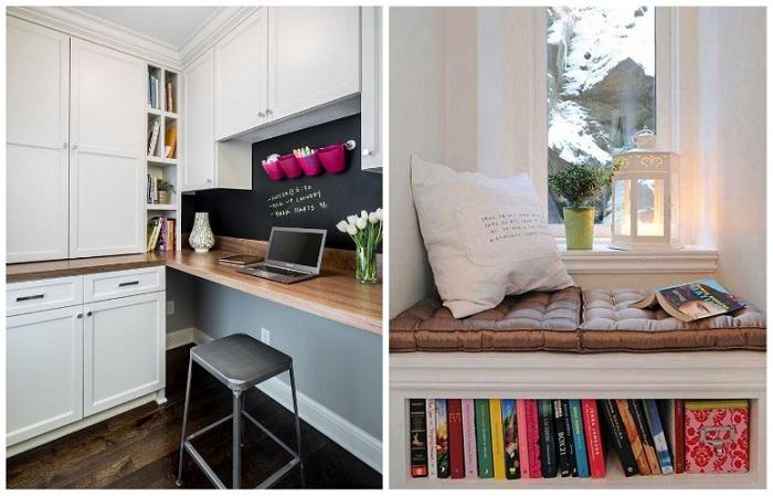 На кухне можно оборудовать место для работы или чтения