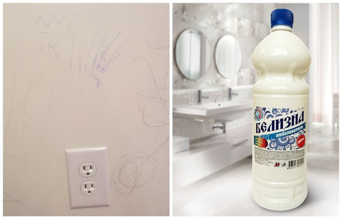 Белизна может очистить светлые обои