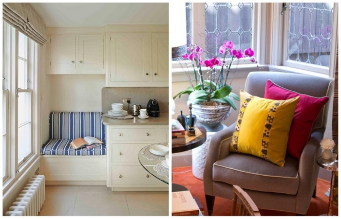 Маленький диван или кресло позволят расслабиться на кухне