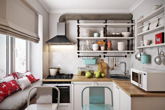 Красивая посуда на открытых полках станет отличным декором. / Фото: twimg.com