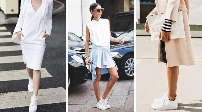 Белые кроссовки можно сочетать как с пальто, так и с платьем. / Фото:club.trendsbrands.ru