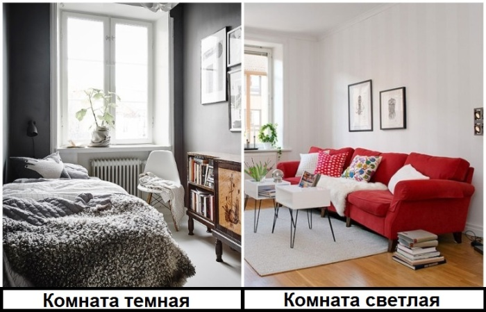 Яркая мебель и светлая отделка делает комнату более уютной, в отличие от темной и серой