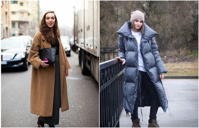 Длинный пуховик или пальто спасет от холода