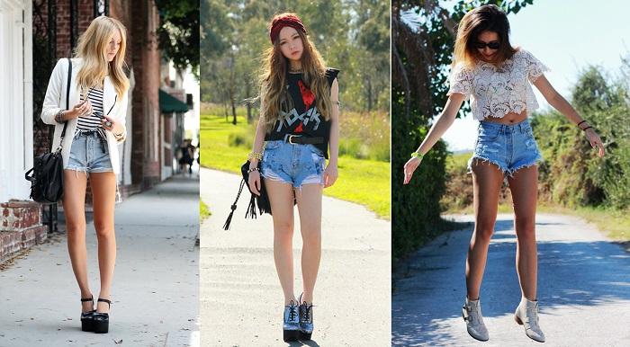 Одинаково эффектно смотрятся классические и рваные модели джинсовых шорт. / Фото: piramida-samara.ru
