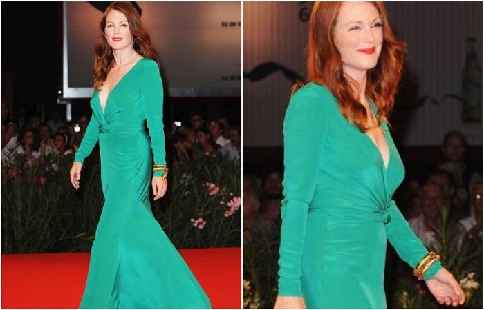 Джулианна Мур в платье из струящейся ткани от бренда Tom Ford