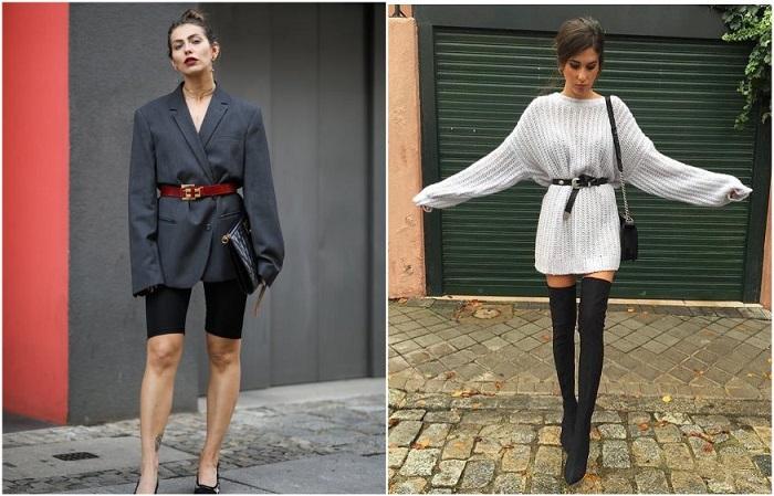 Свитер и пиджак в стиле оверсайз можно дополнить ремнем