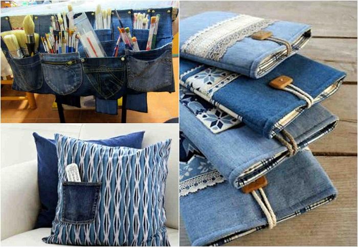 Из старых джинсов можно сделать чехол для гаджетов или сшить наволочку. / Фото: fairy-hobby.ru