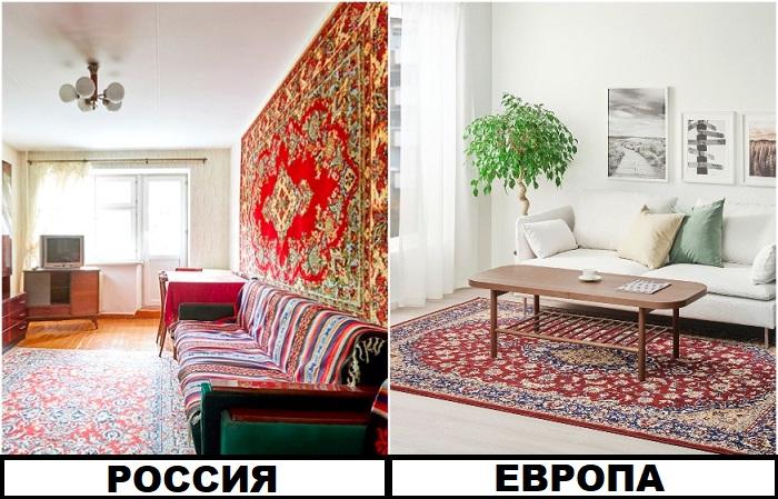 Россияне не только кладут ковер на пол, но и вешают на стену