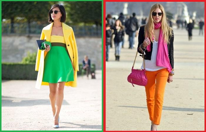 Старайтесь сочетать в одном образе не более двух ярких цветов