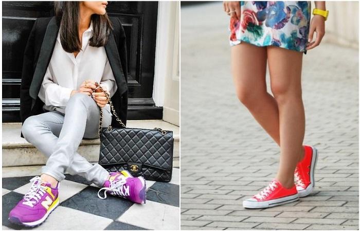В моде кеды и кроссовки ярких цветов