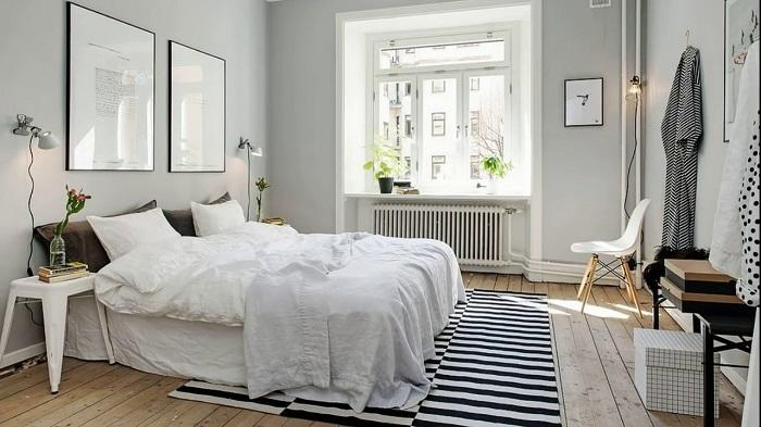 Скандинавский стиль в интерьере спальни. / Фото: design-homes.ru