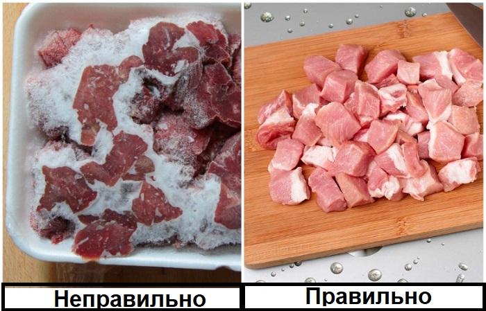 Замороженное мясо не сможет равномерно прожариться