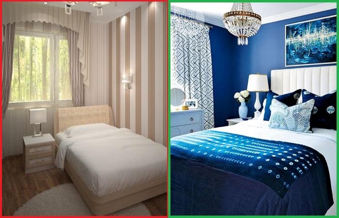 Темно-синяя спальня смотрится намного выразительнее, чем бежевая